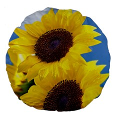 Sunflower Floral Yellow Blue Sky Flowers Photography Large 18  Premium Flano Round Cushions by yoursparklingshop
