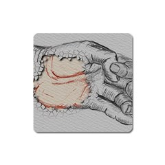 Hand Finger Drawing Fingernails Square Magnet