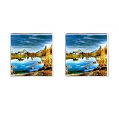 Dolomites Mountains Italy Alpin Cufflinks (square) by Simbadda