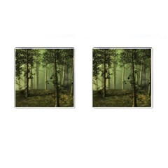 Forest Tree Landscape Cufflinks (square) by Simbadda