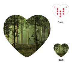 Forest Tree Landscape Playing Cards (heart)  by Simbadda