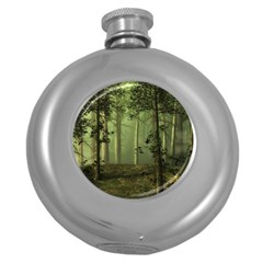 Forest Tree Landscape Round Hip Flask (5 Oz) by Simbadda