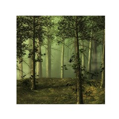 Forest Tree Landscape Small Satin Scarf (square) by Simbadda