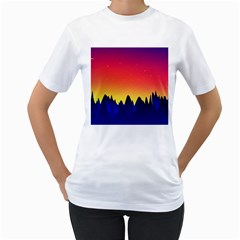 Night Landscape Women s T Shirt (white) (two Sided)