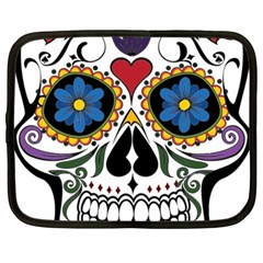 Cranium Sugar Skull Netbook Case (large) by StarvingArtisan