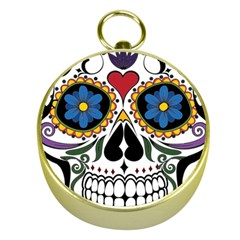 Cranium Sugar Skull Gold Compasses by StarvingArtisan
