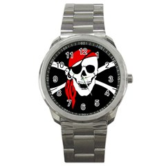 Pirate Skull Sport Metal Watch by StarvingArtisan