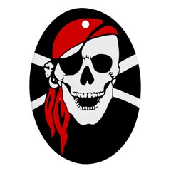 Pirate Skull Oval Ornament (two Sides)