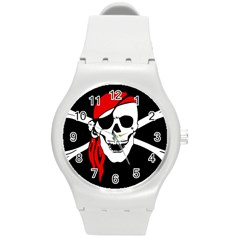 Pirate Skull Round Plastic Sport Watch (m) by StarvingArtisan