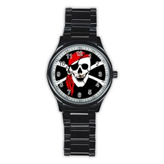 Pirate Skull Stainless Steel Round Watch by StarvingArtisan