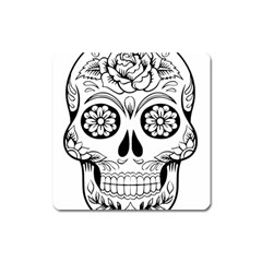Sugar Skull Square Magnet by StarvingArtisan