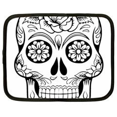 Sugar Skull Netbook Case (large) by StarvingArtisan