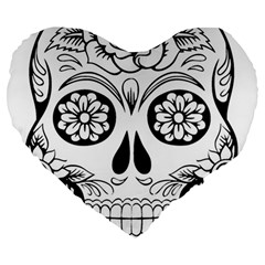 Sugar Skull Large 19  Premium Heart Shape Cushions by StarvingArtisan