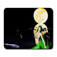 Sexy Mermaid In The Moonlight Large Mousepads by StarvingArtisan