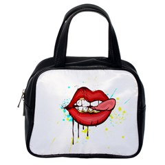 Bit Your Tongue Classic Handbags (one Side) by StarvingArtisan