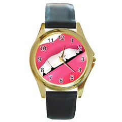 Smile Round Gold Metal Watch