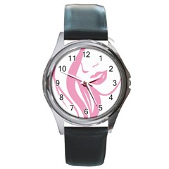 Pinky Round Metal Watch