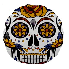Sugar Skull Large 18  Premium Flano Round Cushions by StarvingArtisan
