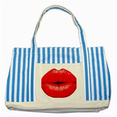 Oooooh Lips Striped Blue Tote Bag by StarvingArtisan