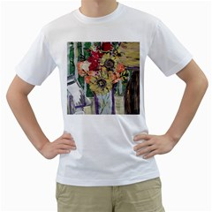 Sunflowers And Lamp Men s T-shirt (white) (two Sided) by bestdesignintheworld