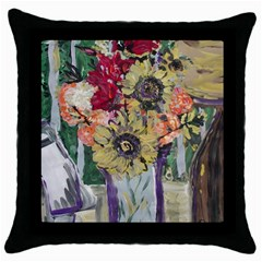 Sunflowers And Lamp Throw Pillow Case (black) by bestdesignintheworld