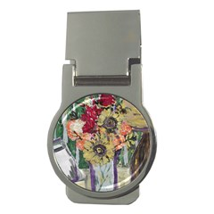 Sunflowers And Lamp Money Clips (round)  by bestdesignintheworld