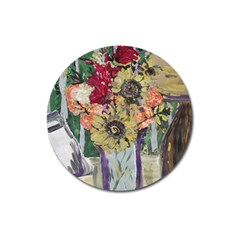 Sunflowers And Lamp Magnet 3  (round) by bestdesignintheworld