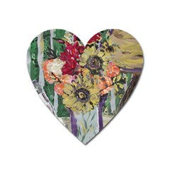 Sunflowers And Lamp Heart Magnet by bestdesignintheworld