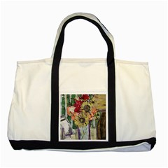 Sunflowers And Lamp Two Tone Tote Bag by bestdesignintheworld