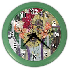 Sunflowers And Lamp Color Wall Clocks by bestdesignintheworld