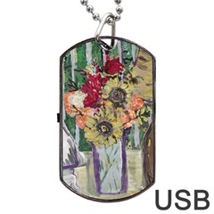 Sunflowers And Lamp Dog Tag Usb Flash (two Sides) by bestdesignintheworld