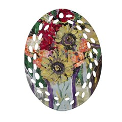 Sunflowers And Lamp Oval Filigree Ornament (two Sides) by bestdesignintheworld