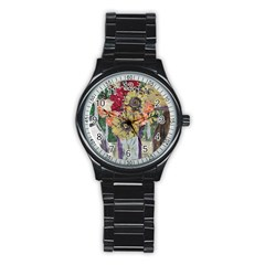 Sunflowers And Lamp Stainless Steel Round Watch by bestdesignintheworld