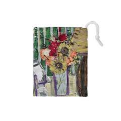 Sunflowers And Lamp Drawstring Pouches (small)  by bestdesignintheworld