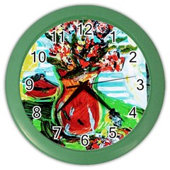 Dry Flowers On Your Windows Color Wall Clocks by bestdesignintheworld