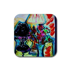 Still Life With Two Lamps Rubber Coaster (square)  by bestdesignintheworld