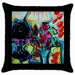 Still Life With Two Lamps Throw Pillow Case (black) by bestdesignintheworld