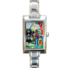 Still Life With Two Lamps Rectangle Italian Charm Watch by bestdesignintheworld