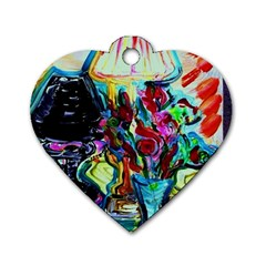 Still Life With Two Lamps Dog Tag Heart (one Side) by bestdesignintheworld