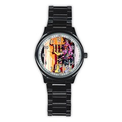 Still Life With Lamps And Flowers Stainless Steel Round Watch by bestdesignintheworld