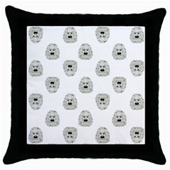 Angry Theater Mask Pattern Throw Pillow Case (black) by dflcprints