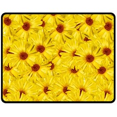 Yellow Flowers Fleece Blanket (medium)  by girleyjanedesigns