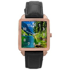 Beautiful Nature Lake Rose Gold Leather Watch  by Modern2018