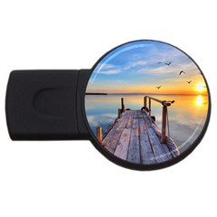 Sunset Lake Beautiful Nature Usb Flash Drive Round (2 Gb) by Modern2018