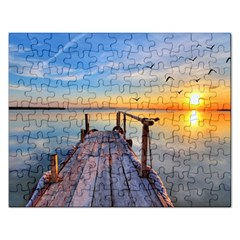 Sunset Lake Beautiful Nature Rectangular Jigsaw Puzzl by Modern2018