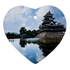Beautiful Pagoda On Lake Nature Wallpaper Heart Ornament (two Sides)
