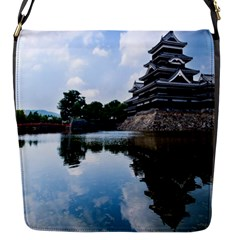 Beautiful Pagoda On Lake Nature Wallpaper Flap Messenger Bag (s) by Modern2018