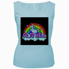 Go To Hell   Unicorn Women s Baby Blue Tank Top by Valentinaart