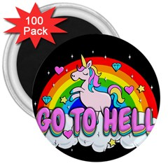 Go To Hell   Unicorn 3  Magnets (100 Pack) by Valentinaart