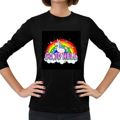 Go To Hell - Unicorn Women s Long Sleeve Dark T-shirts by Valentinaart